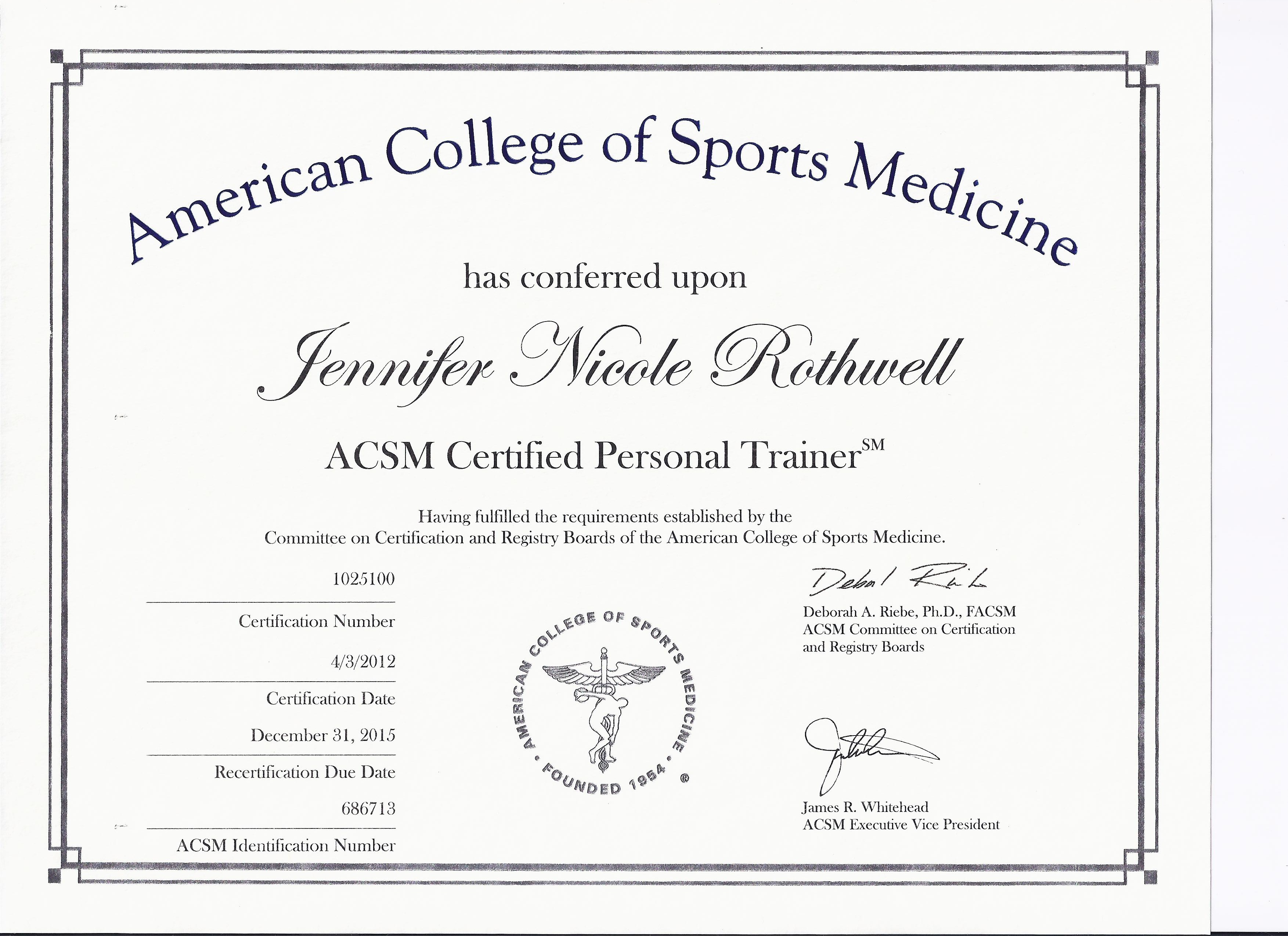 Acsm Cpt Certificate Rothwell Mixed Martial Arts